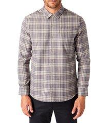 men's 7 diamonds ryder plaid twill button-up shirt, size small - grey
