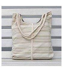 cotton tote, 'two-tone stripes' (brazil)