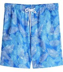 bermuda para hombre playa hojas largas color azul, talla l