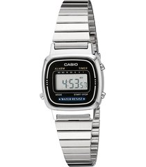 reloj casio la670wa-1d para dama plateado- negro