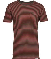 striped tee s/s t-shirts short-sleeved röd shine original