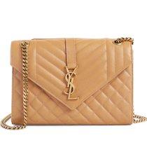 saint laurent monogram leather envelope clutch -
