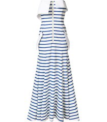 natasha zinko striped jersey bandeau gown - white