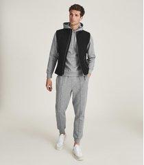 reiss fabien - neoprene loungewear hoodie in grey melange, mens, size xxl