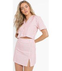 korte linnen blouse met krijtstrepen en mini rokje, pink