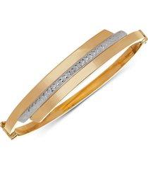 two-tone swirl bangle bracelet in 10k gold & white gold