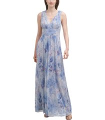 jessica howard floral-print chiffon gown
