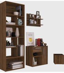 conjunto para escritório 01 livreiro/balcáo multiuso/prateleira/cachepôt madeirado modern office e estilare móveis - tricae