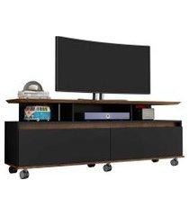 rack texas tv de até 60 pol c/ rodízios madeira rústica/preto fosco móveis bechara