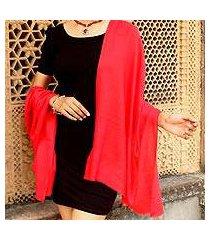 wool shawl, 'kashmiri diamonds in red' (india)