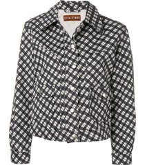 alexa chung checked fitted jacket - blue