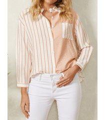 camicetta casual da donna a maniche lunghe con fessura e bottone stampato a righe