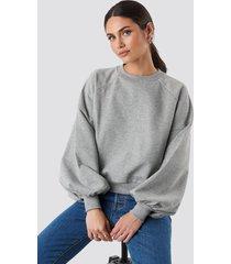 na-kd balloon sleeve sweatshirt - grey