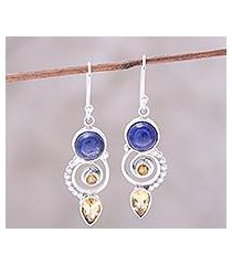 citrine and lapis lazuli dangle earrings, 'majestic spirals' (india)
