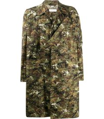 random identities camouflage-print single-breasted coat - green