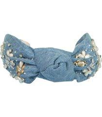 denim embroidered headband