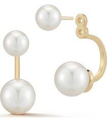 14kt gold pearl ear jacket earrings