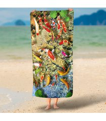 unique-hd-green-lotus-leaf-goldfish-print-3d-beach-towels-funny-round-rectangle-