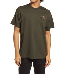 men's carhartt work in progress commission embroidered logo t-shirt, size small - green