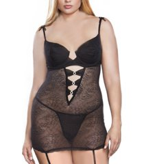 women's plus size moulded cup shirred chemise and panty set