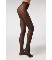 calzedonia animal pattern 40 denier mesh tights woman black size 3/4