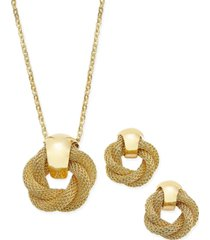 charter club gold-tone twisted knot pendant necklace and earrings set, created for macy's