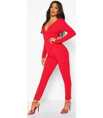 plunge long sleeve jumpsuit, red