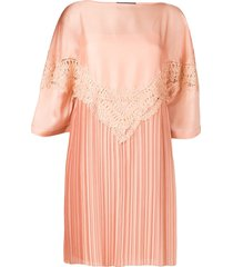 alberta ferretti embroidered plisse dress - pink