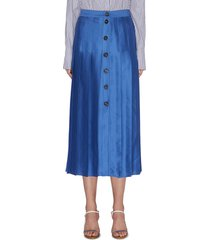 button-down box pleat midi skirt