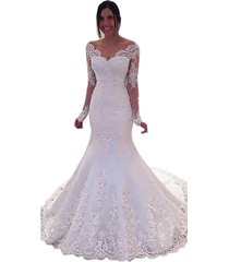women's lace wedding dress gown mermaid with long sleeves 2018 cheap