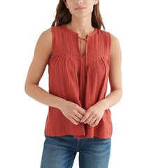 lucky brand tie front sleeveless cotton blend top, size x-small in tandoori spice at nordstrom