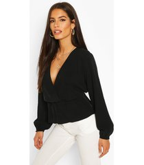 linen mix peplum hem blouse, black