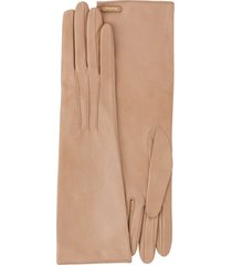 miu miu stitching detail long gloves - neutrals