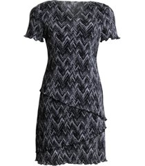 connected tiered pleated fit & flare dress