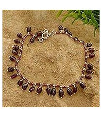 garnet beaded anklet, 'crimson dancer' (india)