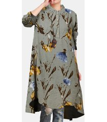 camicetta casual da donna con collo alto e maniche lunghe con stampa floreale
