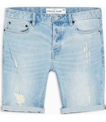 mens blue bleach ripped stretch skinny denim shorts