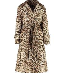dolce & gabbana printed nylon trench coat