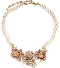 heidi daus women's goldtone & crystal flower statement necklace