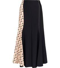 marine serre crescent print midi skirt - black