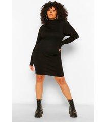 plus gebreide trui jurk met lange mouwen, black