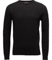 merino ck gebreide trui met ronde kraag zwart morris