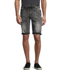 buffalo david bitton men's parker-x rolled-cuff denim shorts - black - size 33
