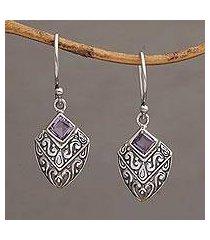 amethyst dangle earrings, 'rain forest beacon' (indonesia)