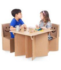 kit cantinho com mesa e cadeiras - papeláo - eu amo papeláo - 100601 - marrom
