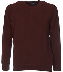 burgundy pullover with multicolor label