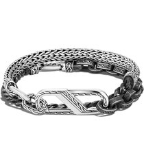 'classic chain' large carabiner clasp double wrap oxidised silver bracelet