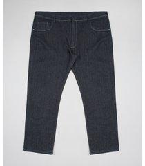 calça jeans masculina plus size reta com bolsos azul escuro