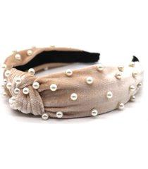 natasha couture imitation pearl top knot headband, size one size - grey