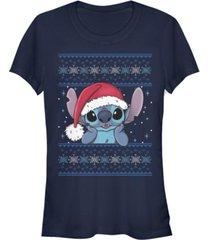 fifth sun women's disney lilo stitch holiday stitch wearing santa hat short sleeve t-shirt